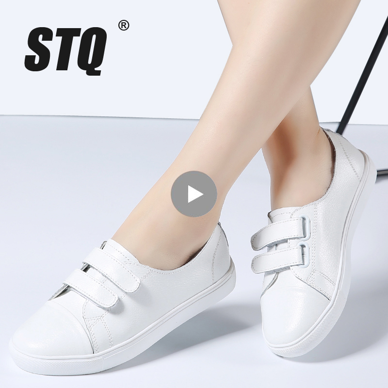 STQ 2018 Autumn women flats shoes ladies slip on flat sneakers shoes women casual rubber boat shoes white oxfords for women 1702