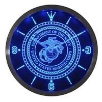 Nc0210 ABD Deniz Piyadesi Askeri Neon Burcu LED Duvar Saati