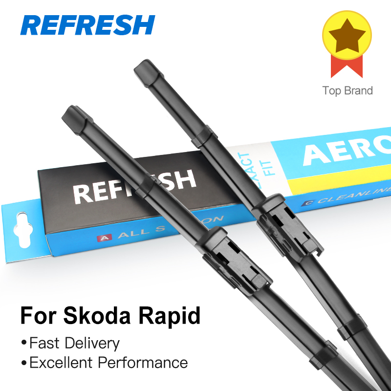 Refresh Wiper Blades for Skoda Rapid Fit Push Button Arms 2012 2013 2014 2015 2016