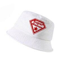 super maman cap Summer 100%cotton bucket hat harajuku pop diamond Mother outdoor panama fisherman Mothers Day gift