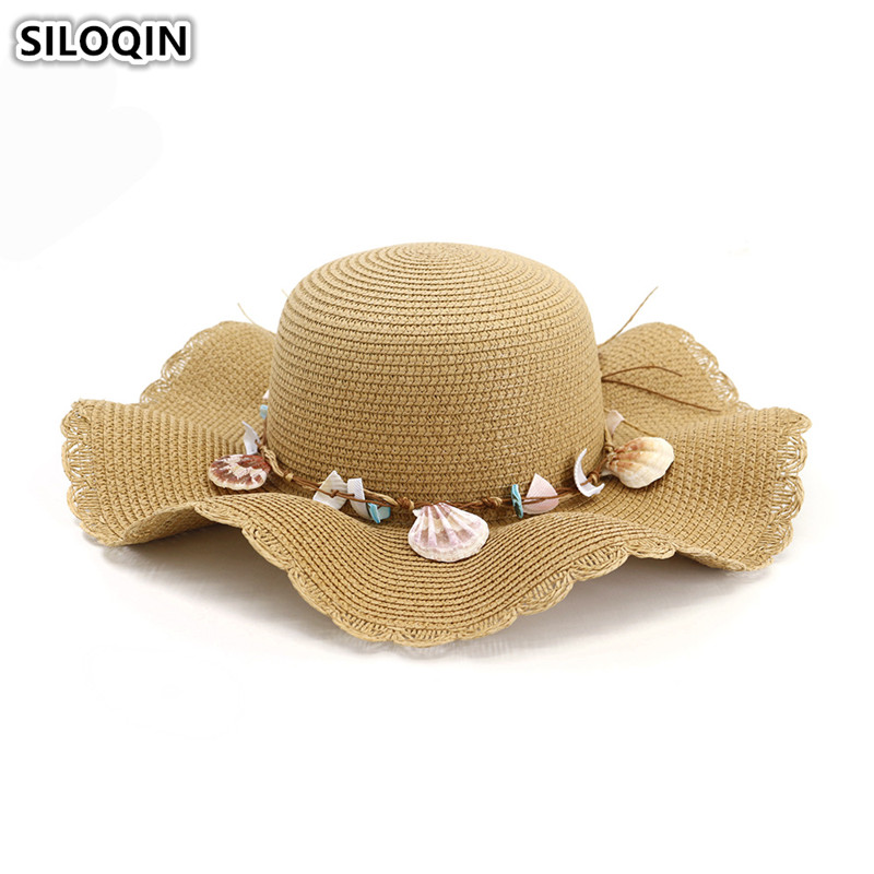 SILOQIN Elegant Lady 39 s Straw Hat Oversized Visor Breathable Women 39 s Sun Hat 2019 New Flower Decoration Beach Hats For Women in Women 39 s Sun Hats from Apparel Accessories
