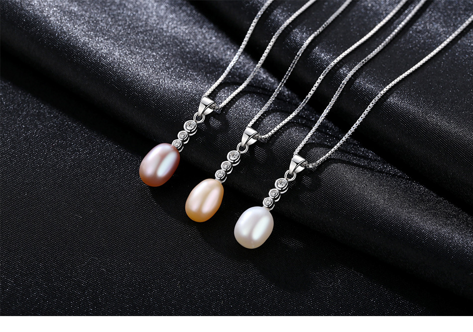 Collier de perles en argent sterling femme collante naturelle perle d'eau douce boîte chaîne cadeau femme HBT01