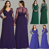 Formal Evening Dresses Ever Pretty EP08692 Women's Autumn Elegant V-neck Long Sleeve Lace Plus Size Prom Evening Party Gowns 1