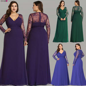 Evening-Dresses V-Neck Ever Pretty Lace Long-Sleeve EP08692 Formal Elegant Plus-Size