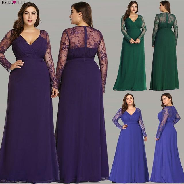 Vestidos de Noche formales Ever Pretty EP08692 mujer otoño elegante cuello pico manga larga de encaje de talla grande Prom Vestidos de fiesta de noche