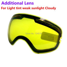 brand double brightening lens for ski goggles Night of Model Number GOG-201 For weak Light tint Weather Cloudy