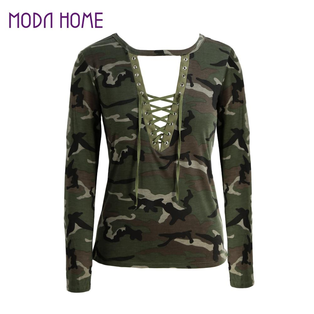 Fashion Women Fashion: Fashion Women Camouflage Long Sleeve T Shirt Lace Up Neck