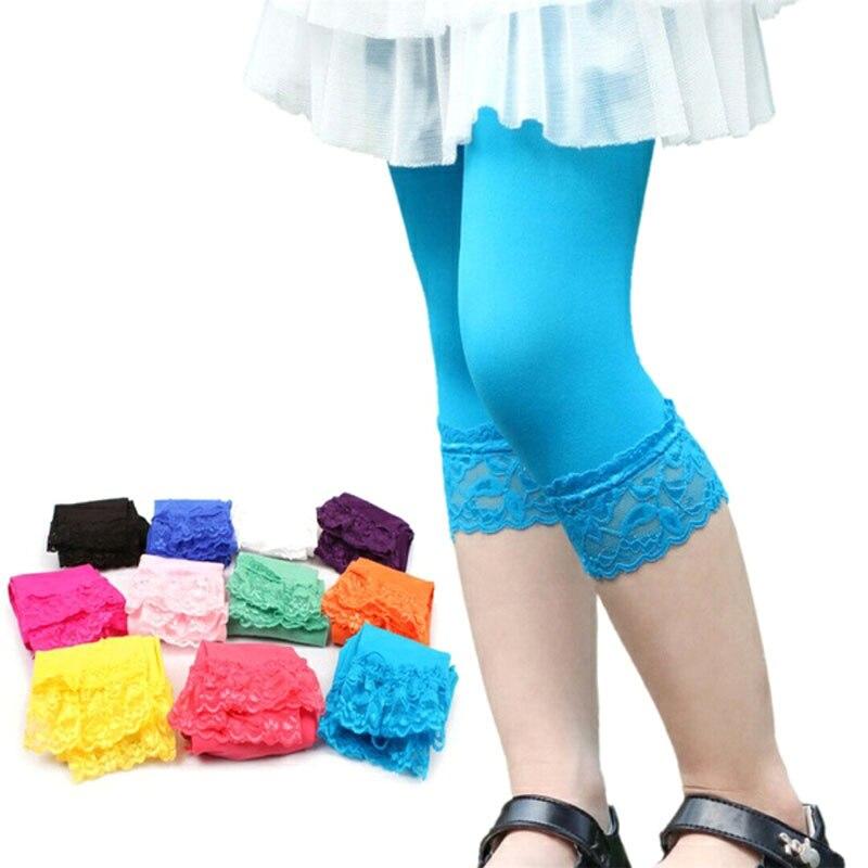 2018 Girl Leggings Autumn Spring Stretch Kids Lace Leggings Skinny Capris Pants Elastic Velvet Elastic Leggings Girl Trousers