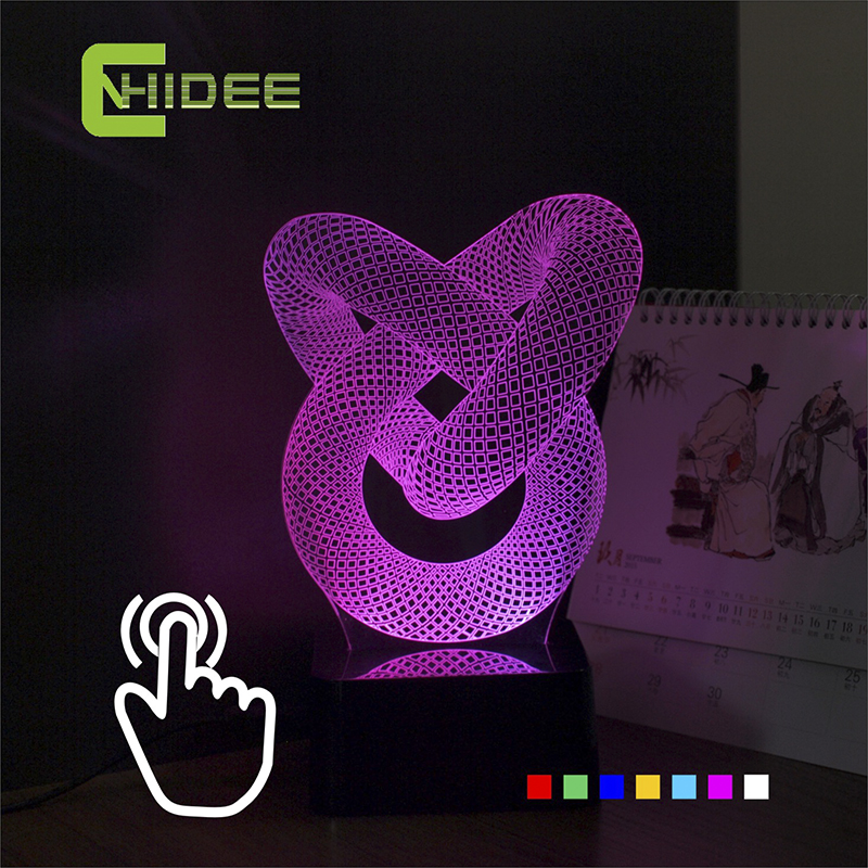 Baby Sleeping Lampara USB Novelty Chinese Knot Seven Colors Home Lighting 3D LED Decorative Desk Lamp as Christmas Night Lights