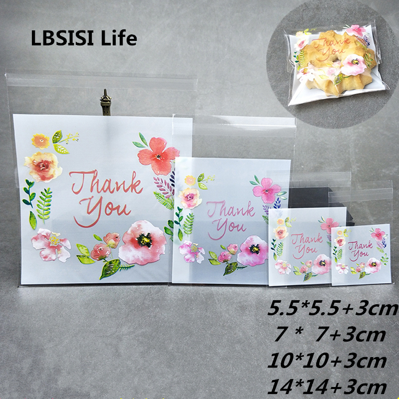 LBSISI Life Candy Cookie Bags Thank You Flower Resealable Gift Biscuits Food Beans Handmade Self Adhesive Packing Bags