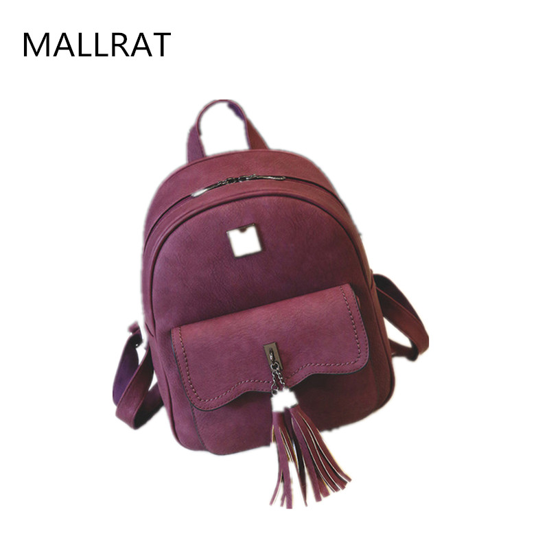 MALLRAT fashion tassel women leather backpack mini travel For girls high quality school bag for teenagers girls backpack mochila