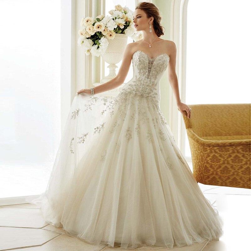 Organza Wedding Gowns: Fashion Style Organza Applique A Line Wedding Dresses