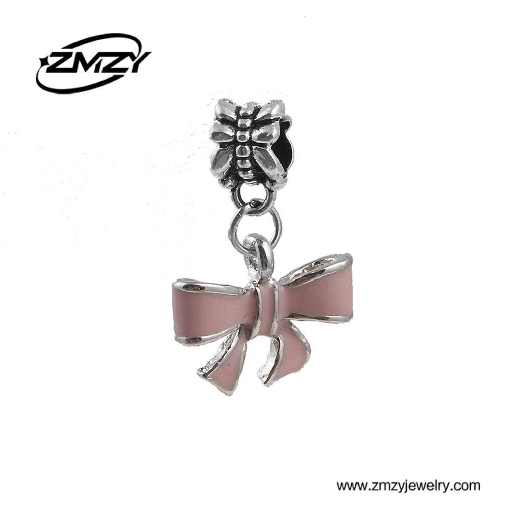 New Silver Plated DIY Jewelry Enamel Bowknot Pendants Beads Fits Pandora Charms Bracelet Women DIY Gift