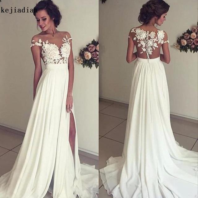 3a9d7d561104 Vintage Chiffon Beach Wedding Dress 2018 Summer White Cap Sleeves V  Neckline Fitted Split Boho Bridal Gowns Robe De Mariage