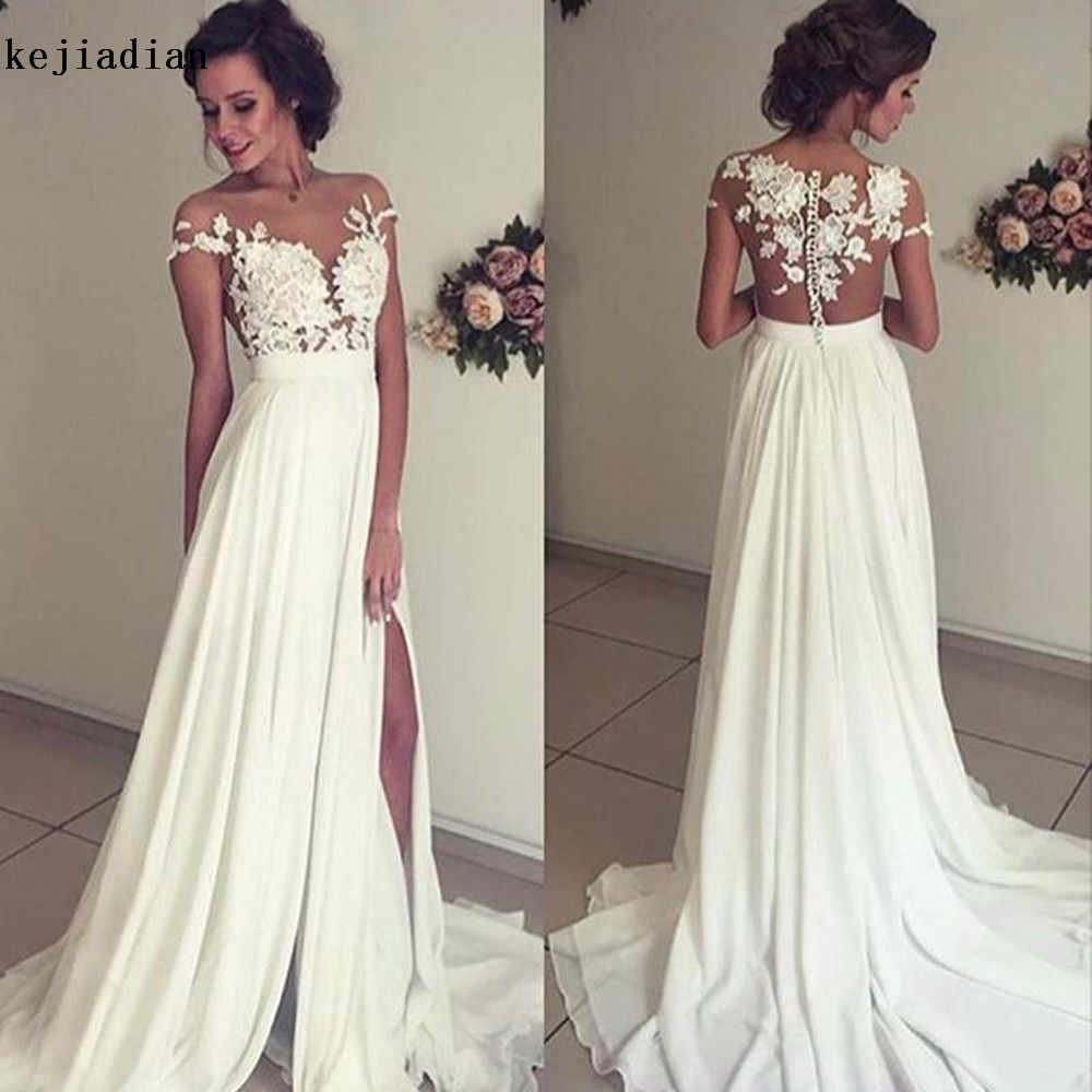 806c30290a Vintage Chiffon Beach Wedding Dress 2018 Summer White Cap Sleeves V  Neckline Fitted Split Boho Bridal Gowns Robe De Mariage