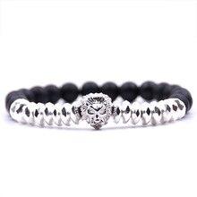KANGKANG hot Selling Matte Black Stone Bead Bracelet Lion head 8mm Elastic Rope Fashion Men Women charm Jewelry