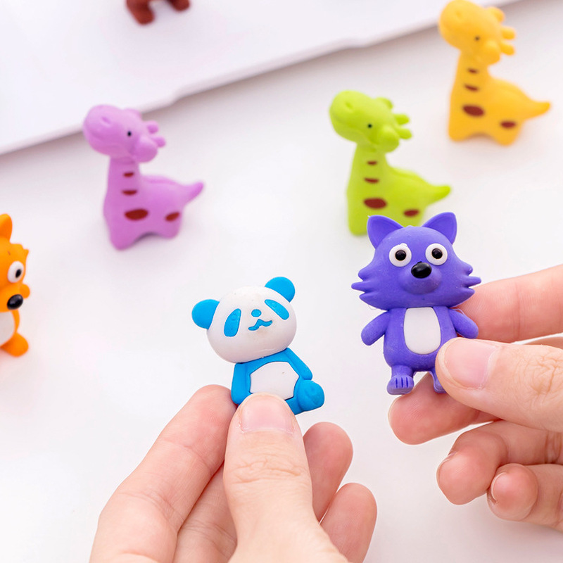 2 Pcs Pencil Eraser Rubber Lovely Panda Giraffe Fox Students Stationery Cute Erasers Material Drawing Escolar Prize For Kids