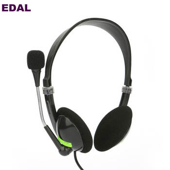 EDAL New Wired Headband Earphone Sport Computer High Quality Headset With Gaming Voice Microphone Headphone Earpiece