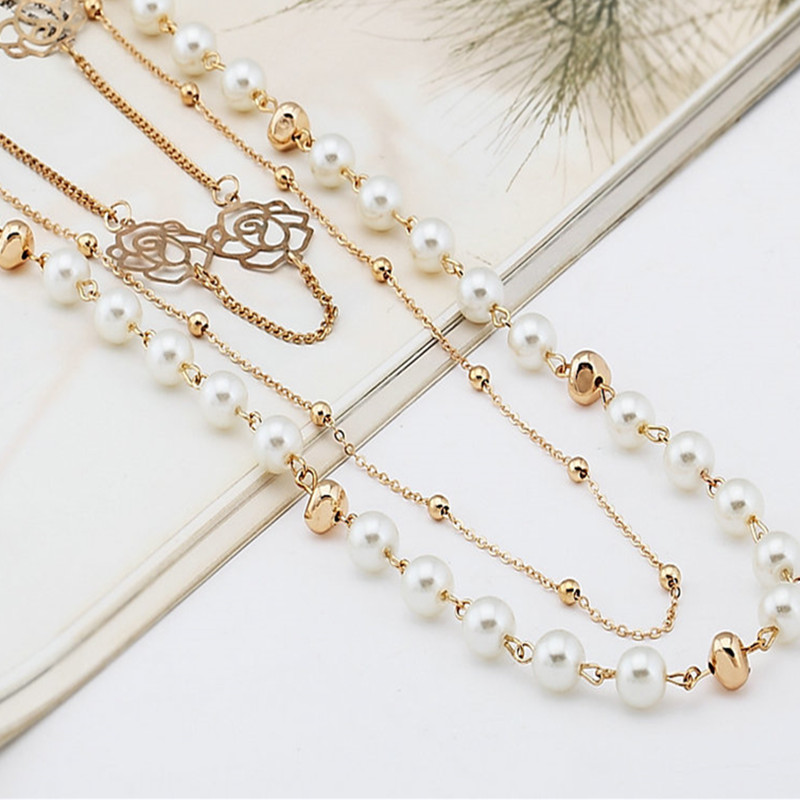 купить 2016 For nec klace long design fashion multi-layer pearl Women necklace vintage long necklace по цене 264.09 рублей