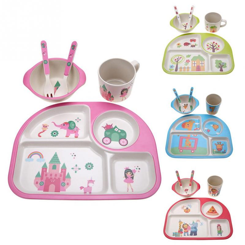 5Pcs/set Bamboo Fiber Baby Plate Dishes Children Tableware Dishes Dinnerware Baby Creative Gift Eco-friendly