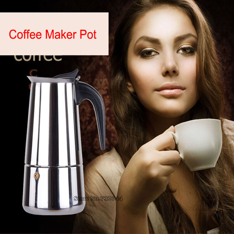 Top Quality Hot Sale 2/4/6/9 Cups Stainless Steel Moka Espre sso Latte Percolator Stove Top Coffee Maker Pot home appliance 2 4 6 9 cups coffee maker pot for household stainless steel moka coffee latte percolator stove coffee pots
