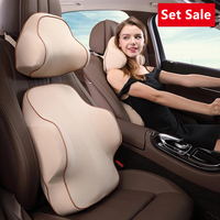 Car Auto Seat Support Cushion+Neck Pillow Memory Foam Lumbar Support Relieve Driver Waist Pain Backrest Cushion Healthcar 1 Set
