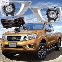 JanDeNing Car Fog Lights for NISSAN NP300 NAVARA 2014 Clear Halogen bulb:H11 12V 55W Front Fog Lights Bumper Lamps Kit
