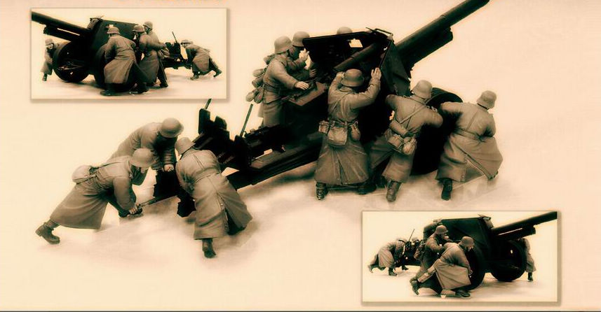 1/35 Resin Figure WWII Winter German Anti-tank Gun Group 9pcs/set (only 9 Soldiers) Model Kit