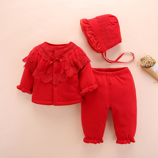 new born baby girl winter clothes set 2018 high quality cute warm Thick baby costume 0 3 monts baby clothing for kids 6m