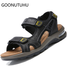 2019 new fashion mens sandals casual genuine leather shoes male summer big szie air beach sandal man breathable for men