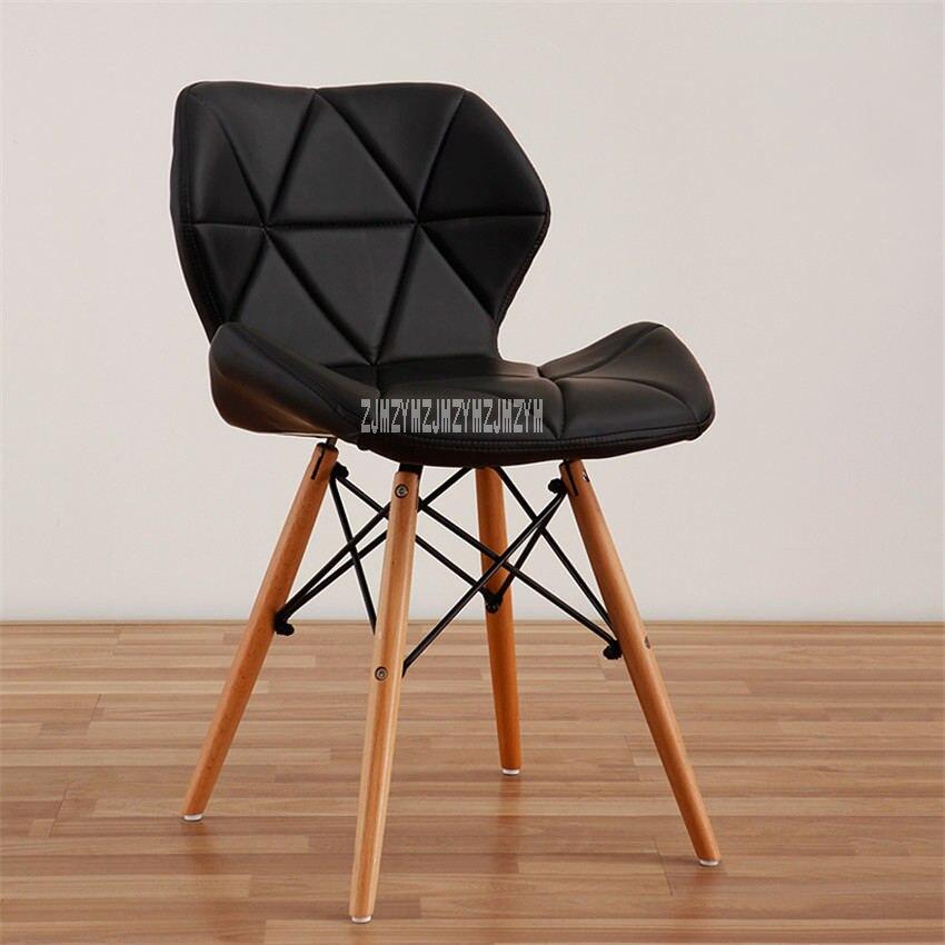Деревянная ножка стул отдыха Современный Креативный Гостиная кресло для отдыха простая Бытовая Кофе обеденный стул спинка офисного компьютерное кресло - Цвет: B