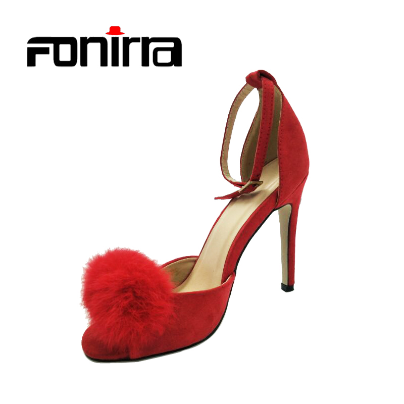 FONIRRA High Heels Sandals Sexy Ankle Strap Thin Heel Pumps for Women Summer Wedding Shoes  Ladies Party Peep Toe Pumps 600 high quality new summer fashion hot women shoes thin high heels sexy party shining ladies peep toe metallic color pumps sandals
