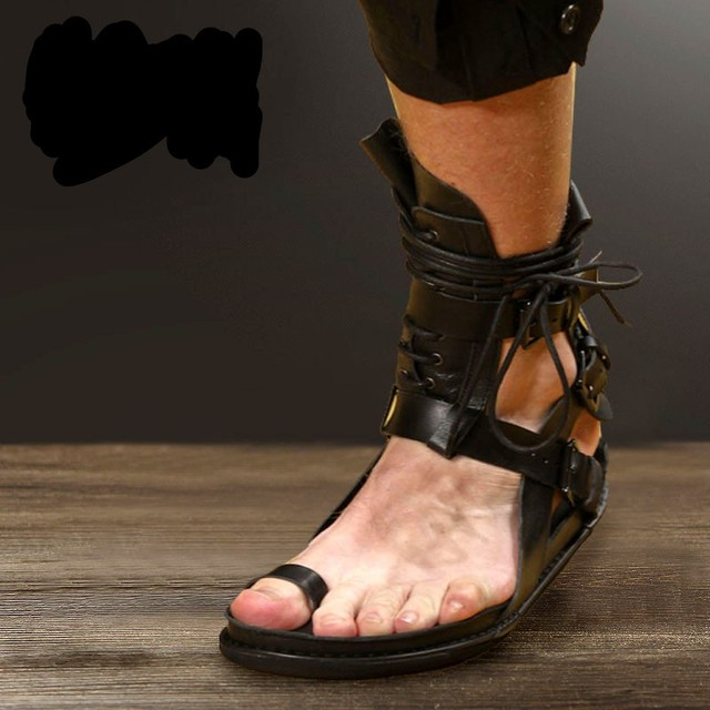 1dfc41b845b767 New Fashion Summer Mens Shoes Real Leather Gladiator Sandals Open Toe  Platform Flat Sandal Boots Flip Flop Buckle Strap Booties