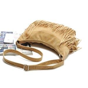 Image 4 - Croyance Vintage Bohemian Fringe Messenger Crossbody Bag Purse Women Tassel Handbag Solid Color