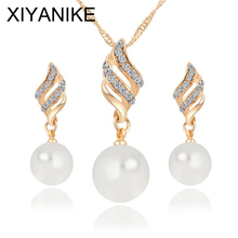 2016 New Fashion Women Necklace Earrings Jewelry Set Crystal Gold Silver Plated Pearl Chain Wedding Party Jewelry Sets XY-N585