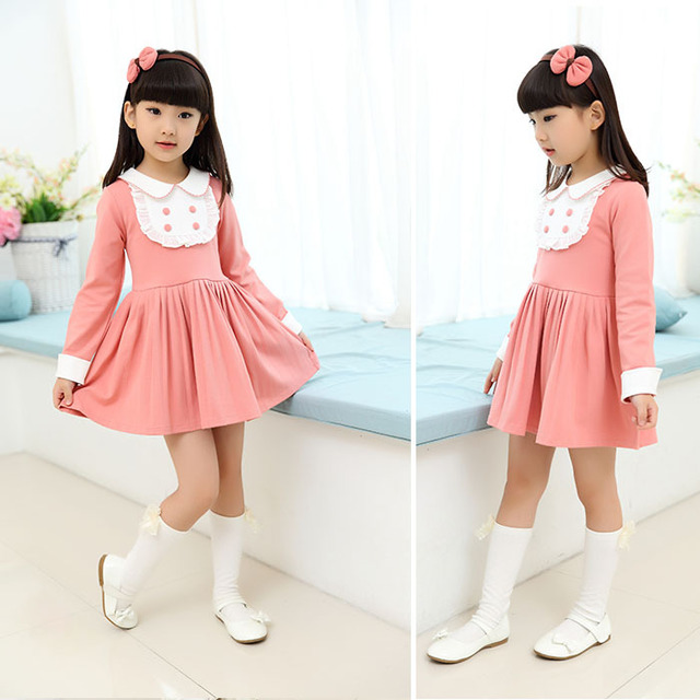Children Sweet Dress Pink New Model Girl Clothing For 4 6 8 10 12 Years Old 2016 Spring Autumn Fashion Girls Clothes AKD165001