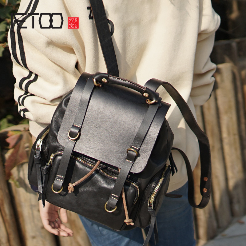 AETOO Retro fashion handmade womens backpack, wash color cowhide backpack, leather lady casual bag, computer bagAETOO Retro fashion handmade womens backpack, wash color cowhide backpack, leather lady casual bag, computer bag