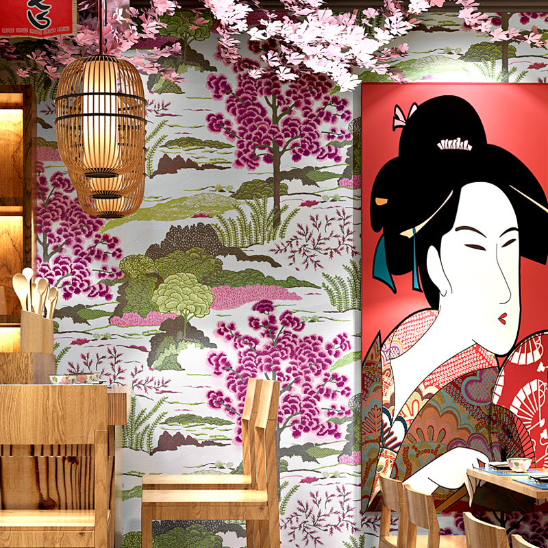 Japanese style mural wallpaper hotel wall papers home for Hotel home decor