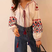 Jastie Red Embroidered Blouse Shirt Long Lantern Sleeve V neck Tassels Women Shirts Top Chic Ukraine Blouses Tops 2018 Blusas