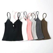 e5b35d8c3e women crop top sexy lace up fitness halter straps strapless shirt female  beach tank tops strappy bra brandy melville summer 2017
