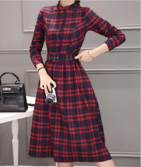 Plaid Elegant Long Women Dress Turn-Down Collar A Line Ladies Dresses Full Sleeve Work Femme Vestidos Z527