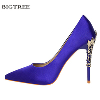 New Summer Elegant Pumps Sweet Sexy Thin Heeled Female High Heels Shoes Pointed Silk Dress Metal