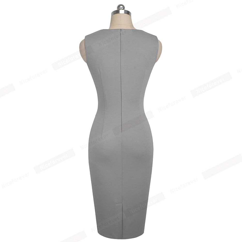 Image 2 - Женское платье Nice Forever, винтажное облегающее платье с оборками для работы в офисе, лето 2019Платья   -