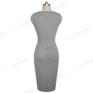 Image 2 - Nice forever vestido elegante para trabalho, feminino, para o verão, colado, vintage, plissado, para escritório, b529