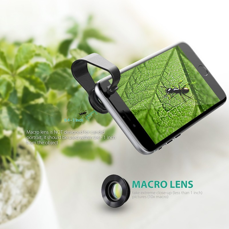 AUKEY 180 Degree Fisheye Lens + Wide Angle + Macro Lens 3in 1 Clip-on Cell Phone Camera Fish eye Lens for Xiaomi & other Device 5