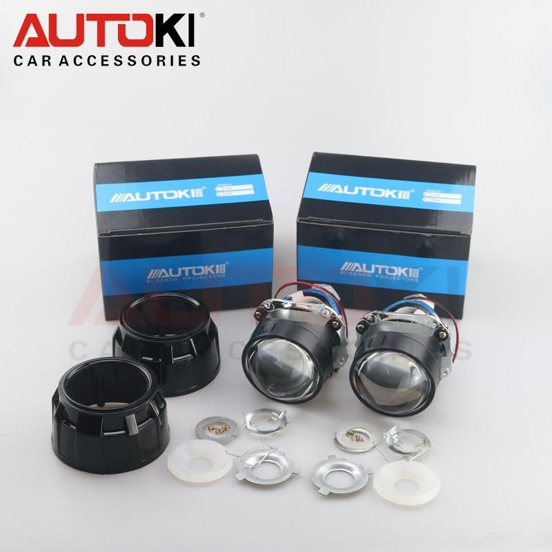 Autoki 2.5 inches Mini WST HID Bi-xenon Projector Lens + Shrouds LHD RHD for Auto Headlight H1 H4 H7 H11 9005 9006