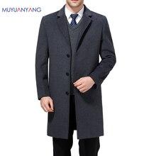 Mu יואן יאנג X ארוך מעילים מקרית Mens צמר תערובת חליפת צווארון מעילי מלא חורף עבור זכר צמר ארוך מעיל קשמיר 3XL 4XL
