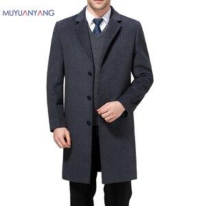 Image 1 - Mu יואן יאנג X ארוך מעילים מקרית Mens צמר תערובת חליפת צווארון מעילי מלא חורף עבור זכר צמר ארוך מעיל קשמיר 3XL 4XL