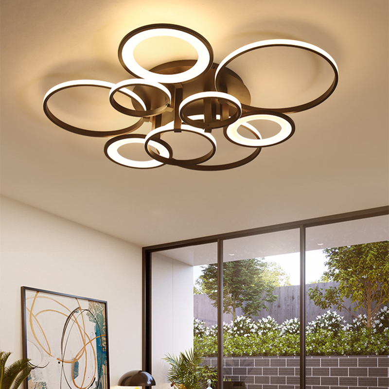 Ideal Circel Rings Coffee/White Modern led ceiling lights For Living Room Bedroom home RC+Dimmable Ceiling lamp Fixtures|Ceiling Lights| |  -
