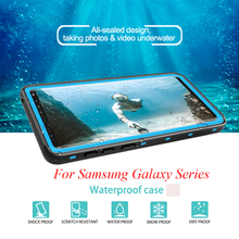 For Samsung Galaxy Note 9 8 Case IP68 Waterproof Case for Samsung S8 S9 Plus Transparent Back Cover Diving Underwater PC + TPU
